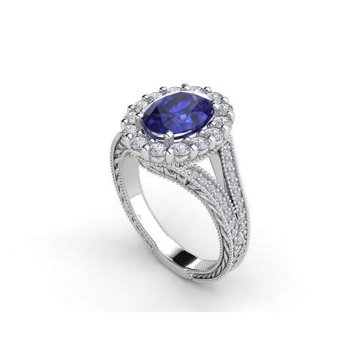 Эксклюзивное женское кольцо со шпинелью и бриллиантами 2023133