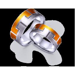 Золотые обручальные кольца из белого золота с элементами желтого родия 421497
