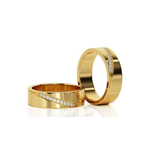 Золотые свадебные кольца с дорожками бриллиантов 1924506