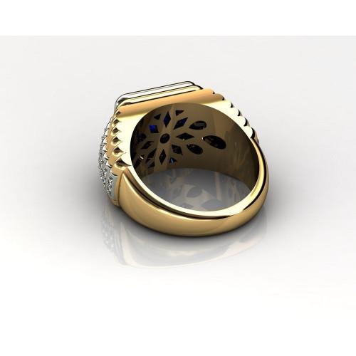 Мужской перстень с бриллиантами и шпинелью 793701