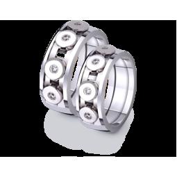 Обручальные кольца из белого золота с круглыми элементами 4221266