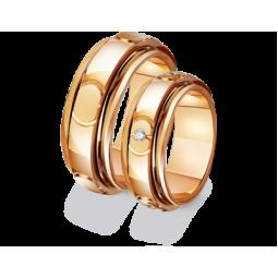 Золотые широкие обручальные кольца 411383