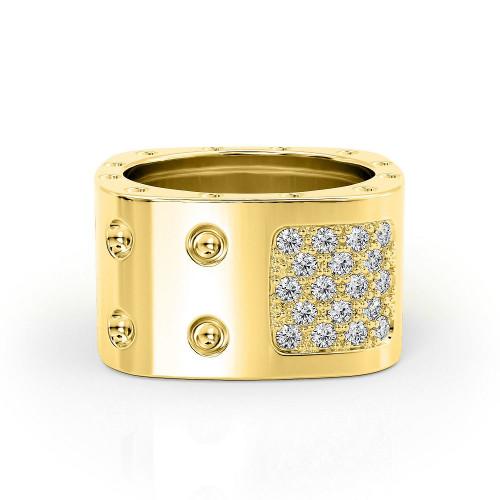 Золотое массивное кольцо с мелкими камнями