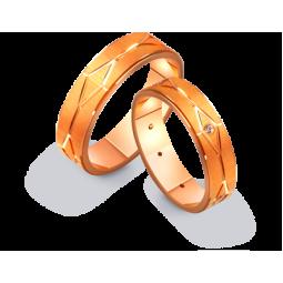 Золотые парные обручальные кольца с матуированной поверхностью 411204