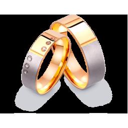 Золотые обручальные кольца американка с фианитами 412252