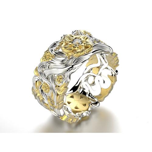 Необычные авторские свадебные кольца из двух цветов золота