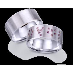 Широкие золотые обручальные кольца американка из белого золота 421261