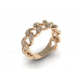 Золотое женское кольцо с мелкими бриллиантами 2364209