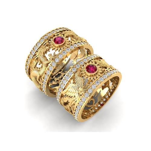 Эксклюзивные свадебные кольца с изображением феникса и дракона