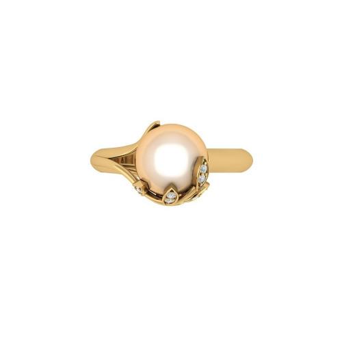 Золотое кольцо с жемчужиной и бриллиантами 2607360