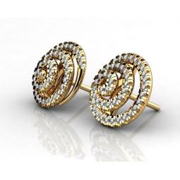 Золотые серьги пусеты с россыпью мелких бриллиантов 618538