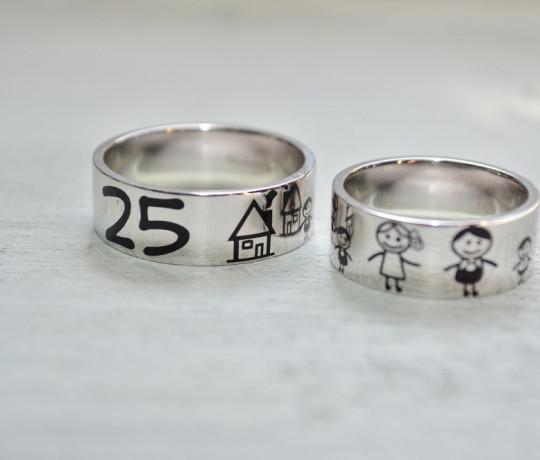 """Обручальные кольца с эмалью """"Моя Семья"""""""