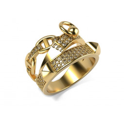 Эксклюзивное кольцо с бриллиантами в стиле Alchimie Hermes Ring 651010