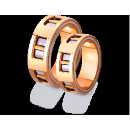 Необычные двухцветные золотые обручальные кольца 4411297