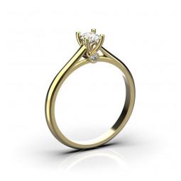 Золотое помолвочное кольцо с небольшими бриллиантами 2455519