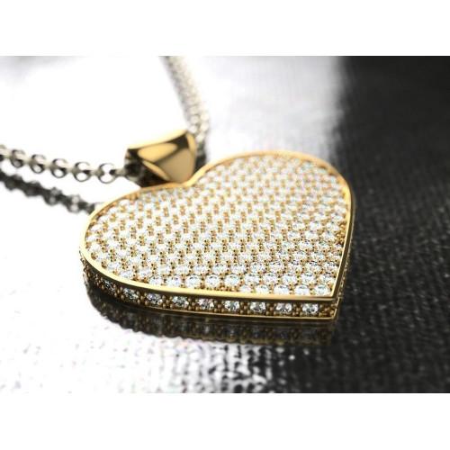 Женский подвес с бриллиантами в форме сердца 950572