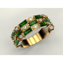 Авторское золотое женское кольцо с камнями разной огранки 808790