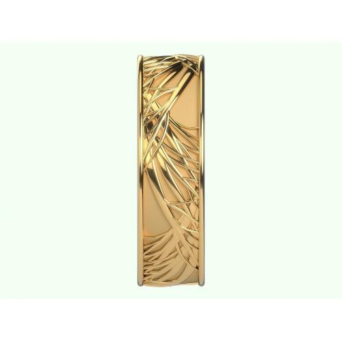 Золотое кольцо с матовой и глянцевой поверхностью 971625