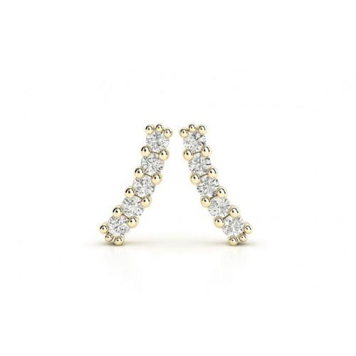 Золотые серьги гвоздики с дорожкой бриллиантов 1845723