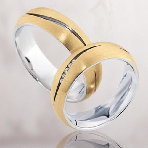 Свадебные кольца из двух цветов золота с бриллиантами 2361186