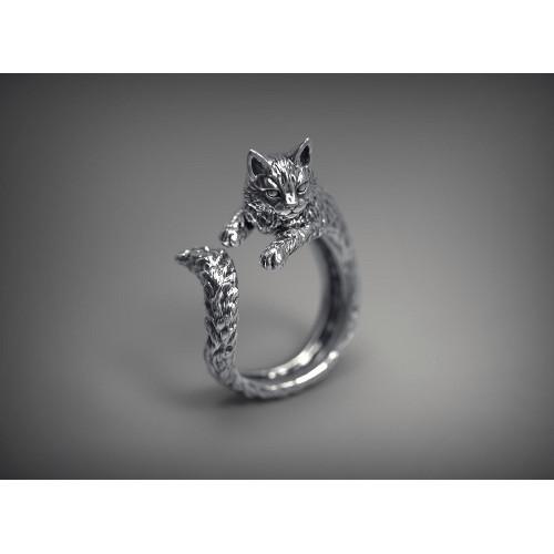 Авторское золотое кольцо в форме кошки 661828