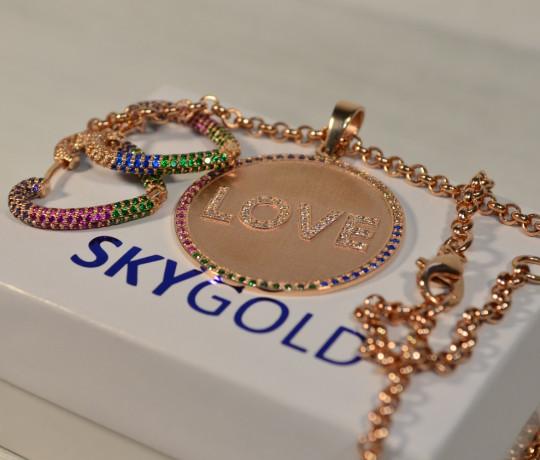 Золотой женский набор с разноцветными камнями