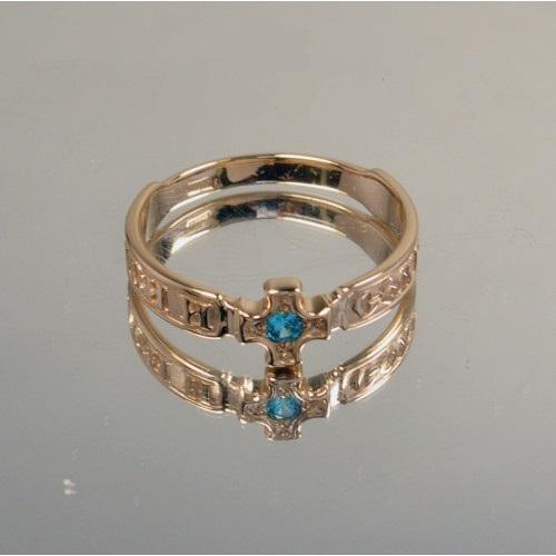 Золотое кольцо Спаси и Сохрани с камнем 21037230