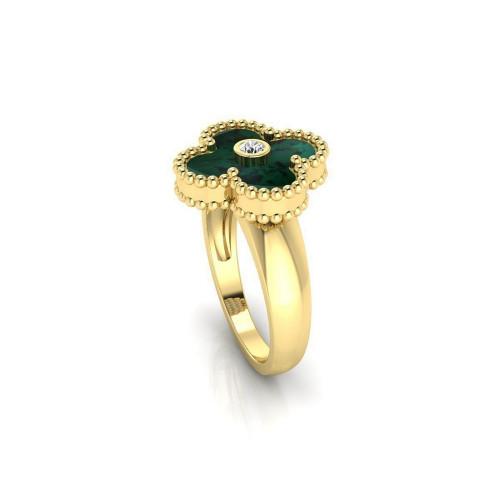 Золотое кольцо с бриллиантом в стиле бренда Van Cleef & Arpels 2153270