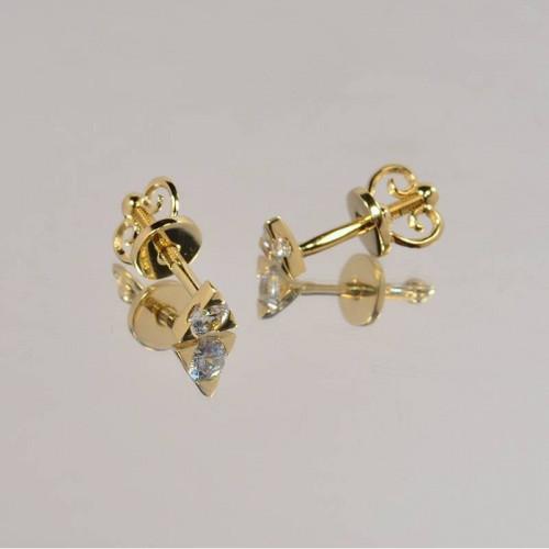 Золотые серьги-пусеты с белыми камнями
