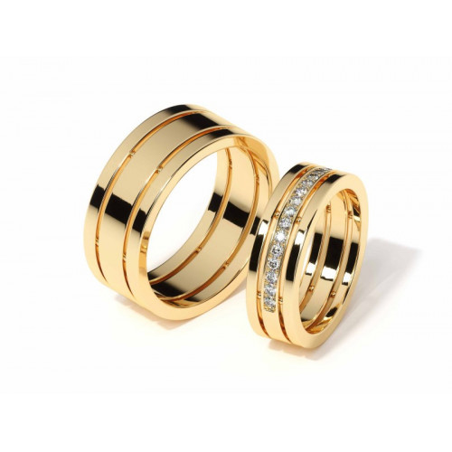 Авторские свадебные кольца из желтого золота