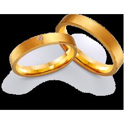 Обручальные кольца из лимонного золота с фианитом 411225