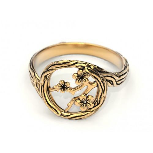 Золотое женское кольцо ветка сакуры 895187