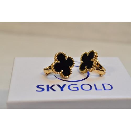 Золотые серьги с ониксом реплика Van Cleef & Arpels 221648