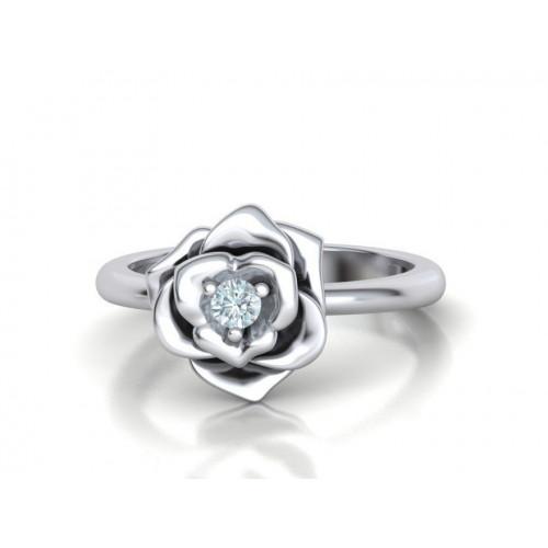 Помолвочное кольцо в форме розы с бриллиантом 2269727