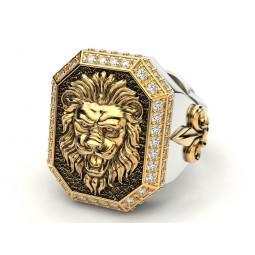 Золотой перстень с изображением льва и бриллиантами 2074045