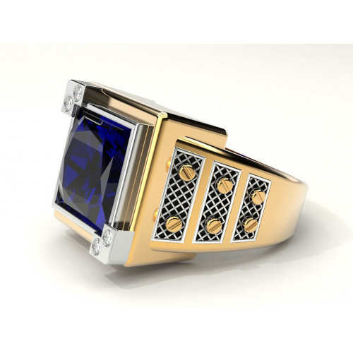 Массивный золотой перстень с крупным квадратным камнем 895508