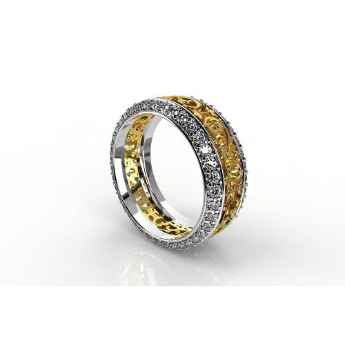 Ажурное золотое кольцо с бриллиантами 1826993