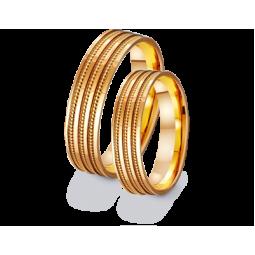Парные обручальные золотые кольца без камней 411255