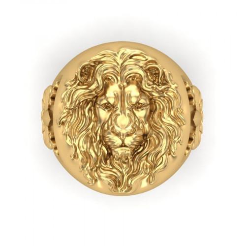 Эксклюзивный золотой перстень с изображением льва 2242180