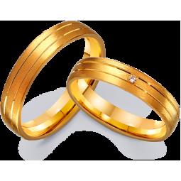 Парные обручальные кольца из желтого золота 411226