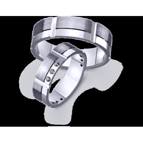 Парные обручальные кольца с матуированной и гладкой поверхностью 4211466