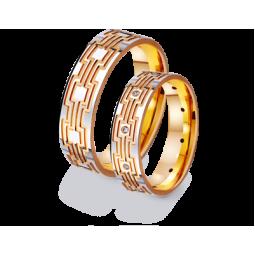 Золотые парные обручальные кольца 411395