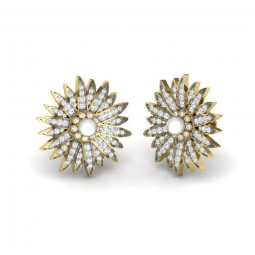 Золотые серьги с россыпью бриллиантов и жемчугом 2728090