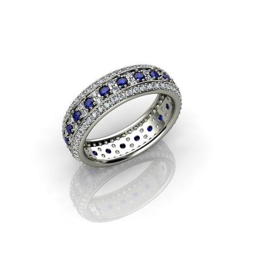 Золотое кольцо с россыпью бриллиантов и сапфиров 792130