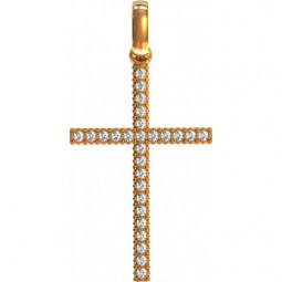 Золотой женский крест с бриллиантами 412010