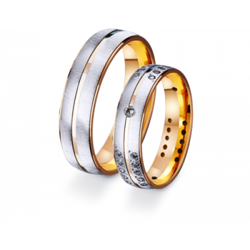 Золотые обручальные кольца из комбинированного золота 411217