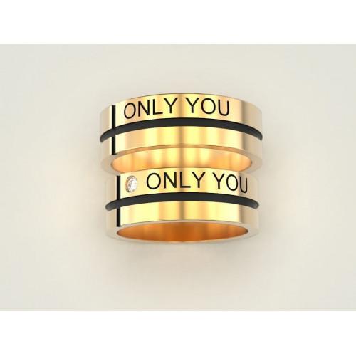 Золотые свадебные кольца only you с бриллиантом