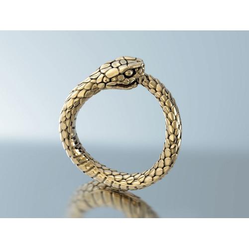 Авторское золотое кольцо в форме змеи 884251