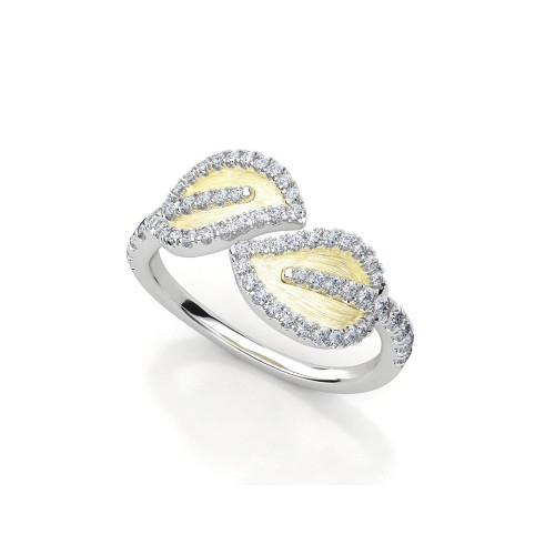 Золотое кольцо в форме листьев с бриллиантами 2051080