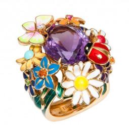 Золотое женское кольцо реплика Dior Diorette